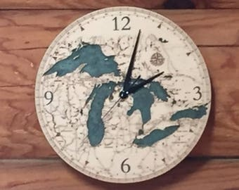 Great Lakes Clock | Michigan Clock | Great Lakes Map | Great Lakes Wood Chart Clock | Great Lakes Water Depth Clock | Lake Michigan | Huron