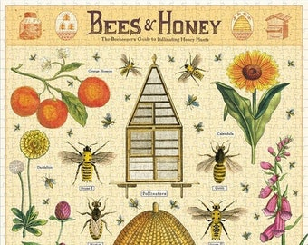 Bees Puzzle   1000 Piece Puzzle   Bees and Honey Puzzle   Jigsaw Puzzle   Art Puzzle   Puzzle for Adults   1000 Pieces Puzzle Box   Bee