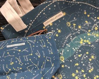 Celestial Tote Bag   Constellation Totebag   Zodiac Print Vintage   Constellation Bag   Canvas Tote Bag   Reusable Bag   Zodiac Fabric  Tote