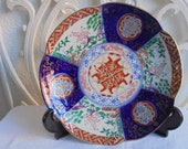 imari plate vintage japanese imari plate wall in-red-and-blue-and-green -