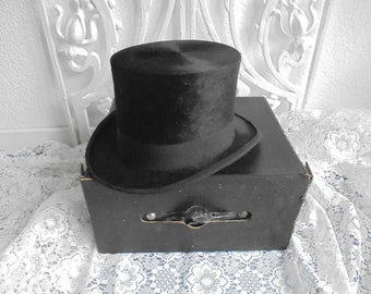 718b1cb88754d7 antique beaver top hat/cylinder hat/victorian men's hat/gothic hat/hats  box/ hats box/john wrigght london