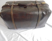 French large vintage leather travel bag travel bag suitcase bag decoration bag doctor bag
