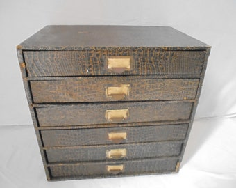 Exceptionnel French Vintage Filing Cabinet / Paper Drawer Box/ Chest Of Drawers With 6  Drawers / Archive Cupboard / Filing Cabinet / Collection Cabinet