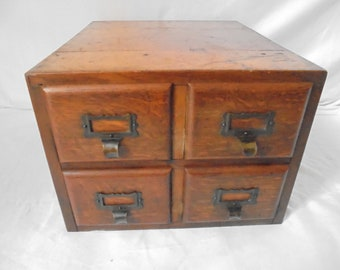 French Vintage File Cabinet With All Of Oak/oak Cabinet With 4 Drawers/ca  1920/Office Cabinet/filing Cabinet/desk Drawer/drawer Box