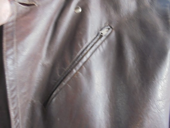midcentury motorcycle jacket from the 60s / leath… - image 6