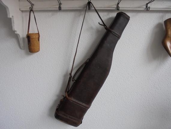 Alte große Gewehr Tasche schweres Leder, militärische Tasche, Hummer Verschluss Tasche, 1930
