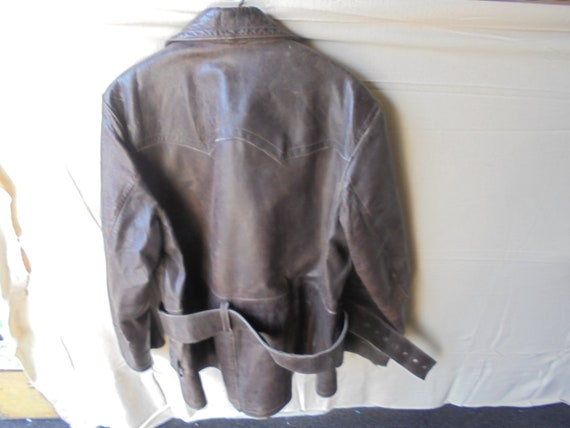 midcentury motorcycle jacket from the 60s / leath… - image 3