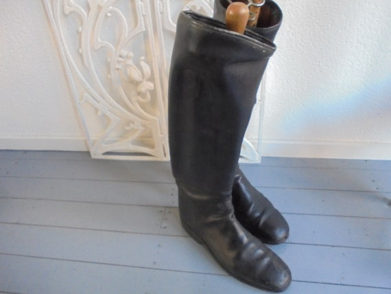 vintage riding boots / leather horse riding boots