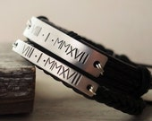 10 year anniversary gift, Couples Bracelet leather Couple bracelets gold roman numeral bracelet men , husband and wife, his her bracelets