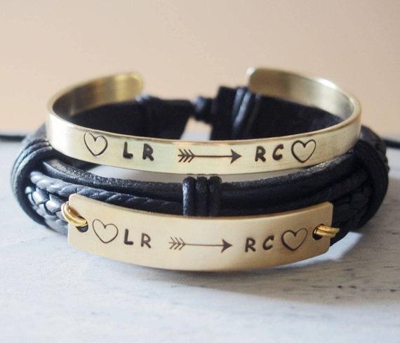 Personalized Couple Bracelets Leather Custom Couples Etsy