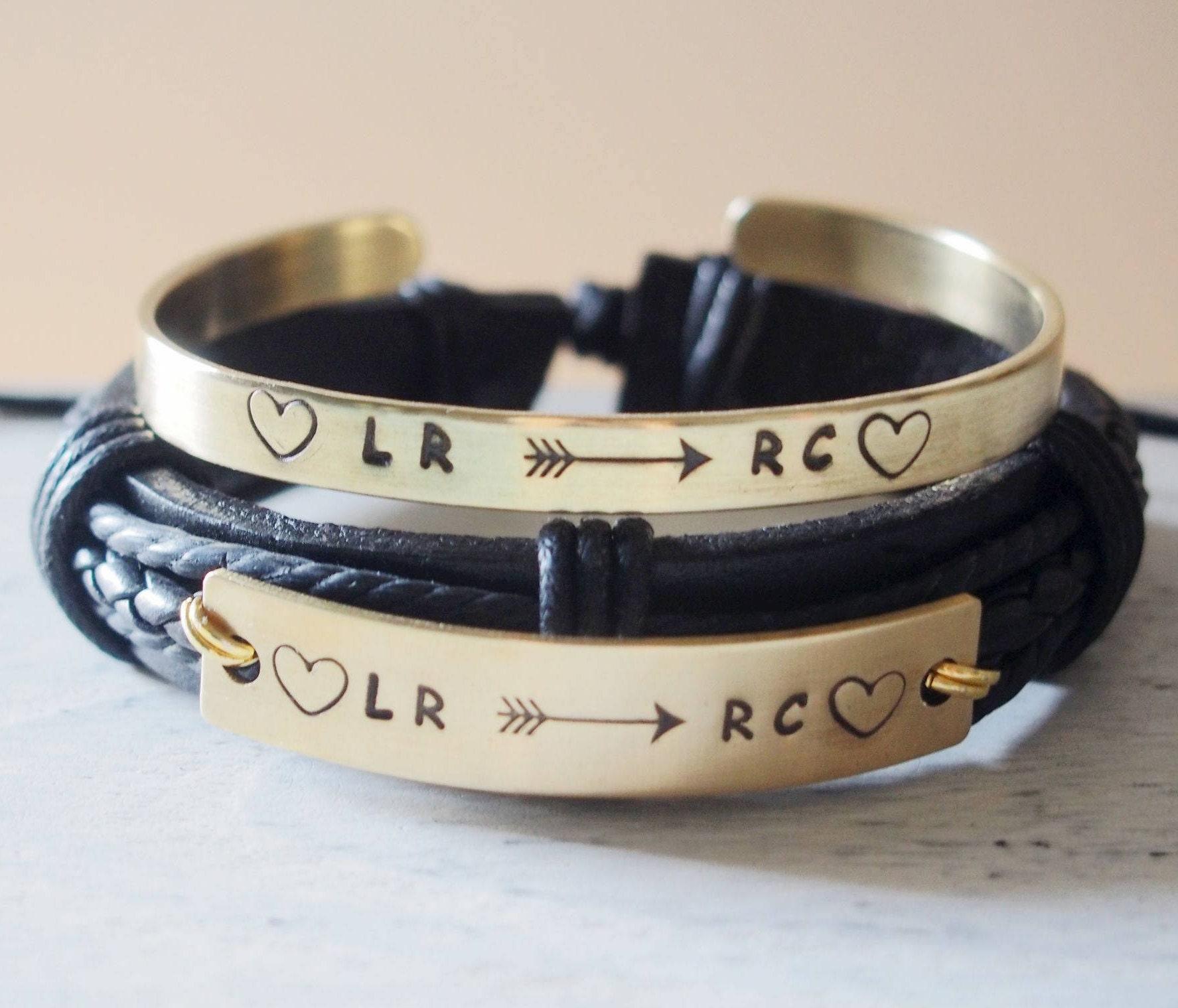 personalized couples bracelets leather custom couples etsy