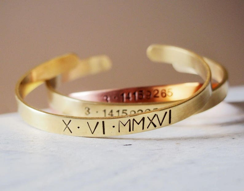 bc86bfdf2 Engraved roman numeral bracelet Gold rose gold hand stamped | Etsy