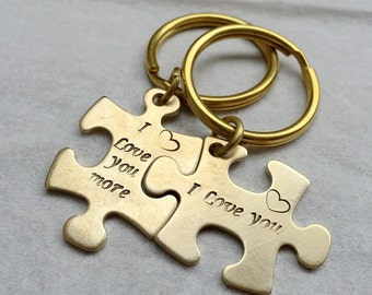 Personalized Couples Gift, Couple Keychain, Couples anniversary Keychain, Anniversary Gift, Puzzle KeyChain, Gift for couples, his hers gift