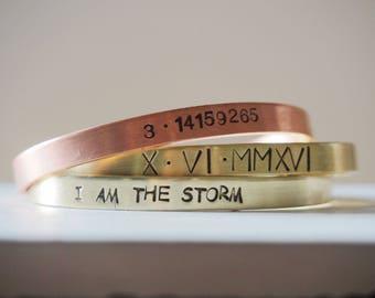 I am the STORM bracelet, hand stamped cuff bracelet inspirational game of thrones handmade bracelet adjustable i am the storm quote bracelet