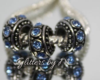 Large Hole Blue/Sapphire September Birthstone Color Rhinestone Spacer Beads for European Style Charm Bracelets