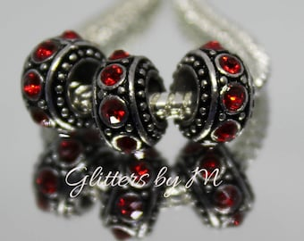 Large Hole Ruby Red Color Rhinestone Spacer Beads for European Style Charm Bracelets