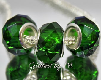 Emeral Green Color Glass Faceted Large Hole Bead with Silver Metal Core for European Style Charm Bracelets