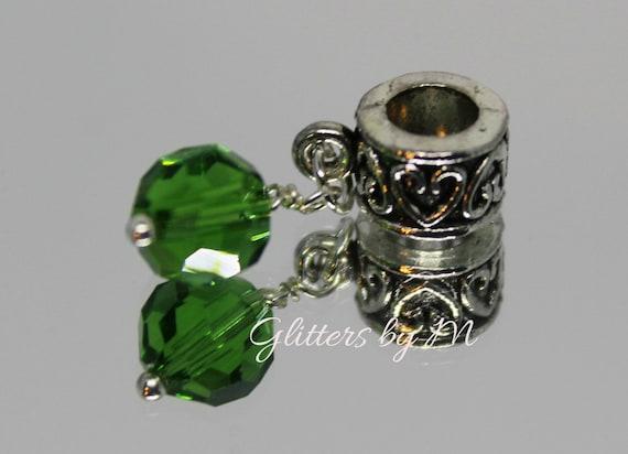 May Birthstone Green Rhinestone Small Lobster Clip Dangle Charm for Bracelets