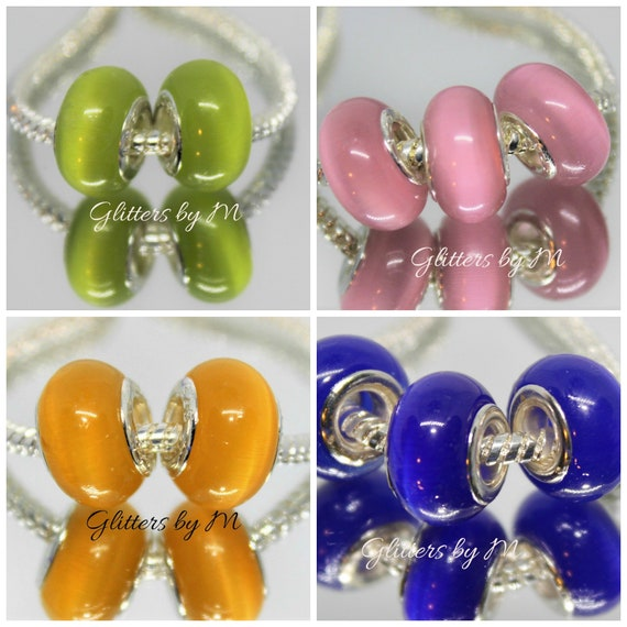 European style bead yellow Cats eye
