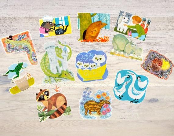 12 vintage paper cutouts animals ephemera childrens book die etsy