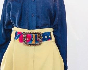 Ceinture vintage en cuir ceinture brutaliste grande boucle ceinture coloré  noir cuir ceinture déclaration pièce ceinture cuir ceinture ceinture noire  taille ... 1c24f51f295