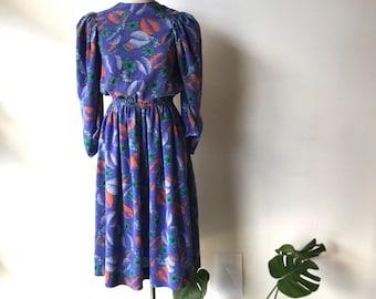 70s puff sleeve dress 70s Prairie dress 70s dress Prairie style dress boho dress Bohemian dress vintage foliage print dress 70s disco dress