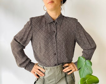 Chocolate brown silk shirt long sleeve silk shirt brown button up vintage silk shirt brown silk blouse boxy silk shirt size small shirt smal