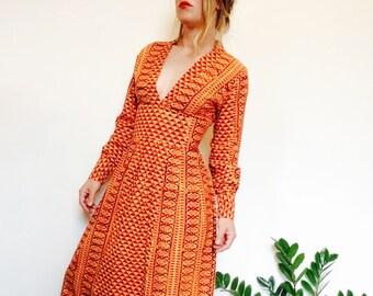 Vintage maxi dress indian print dress boho dress 70s indian print 70s dress paisley dress 70s vintage dress bohemian dress boho style dres