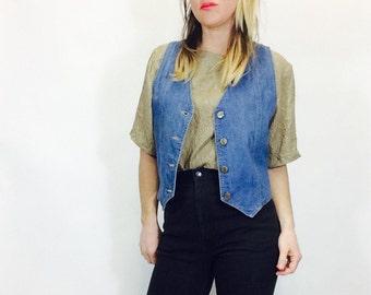 Vintage denim vest vintage jean vest Lee denim vest button up vest jean vest vintage vest size medium vest 70s vest medium denim vest Lee