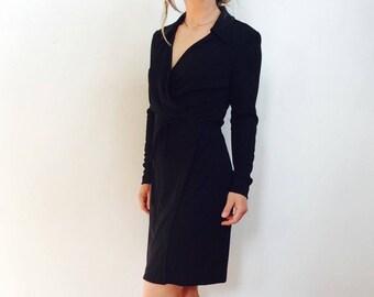 90s Black dress black mini dress little black dress LBD black wrap dress minimalist dress black short dress short black dress size s dress