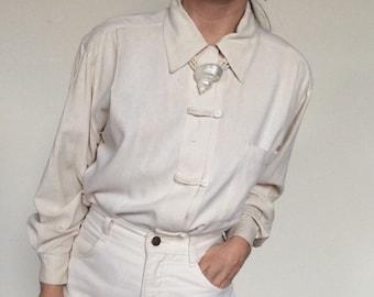 ab3b9b42a2613 Raw silk shirt silk blouse vintage silk shirt boxy silk shirt boxy silk top  size small silk shirt white raw silk top silk top white silk