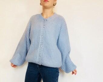 68b2c87b1f2 Mohair cardigan wool large cardigan knit cardigan mohair sweater minimalist  sweater baby blue sweater large sweater LL Bean cardigan LL Bean