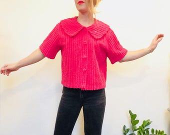 Vintage chenille shirt vintage chenille top boxy shirt pink chenille blouse vintage peter pan collar peter pan collared top pink blouse pink
