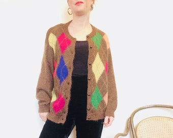 90s cardigan argyle sweater vintage mohair sweater italian wool sweater L united colors of bennaton sweater 90s preppy sweater size small