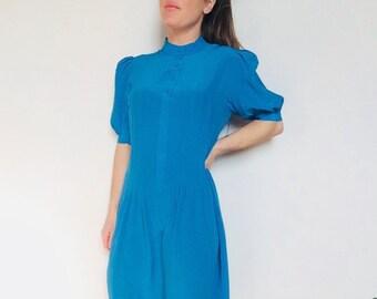 5770400c5c1 Silk midi dress silk peacock blue dress vintage silk dress silk puff sleeve dress  silk blue silk dress blue blue silk dress princess sleeve
