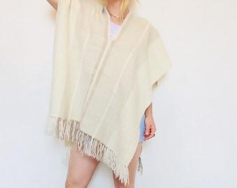 71b4c73a5 Vintage wool poncho vintage woven poncho white wool poncho Womens poncho  white poncho boho wool poncho wool cloak wool poncho grey wool