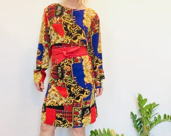 Vintage 90s dress 90s silk dress 90s boxy dress short 90s dress size medium dress short fall dress plaid dress graphic 90s dress silk graphi