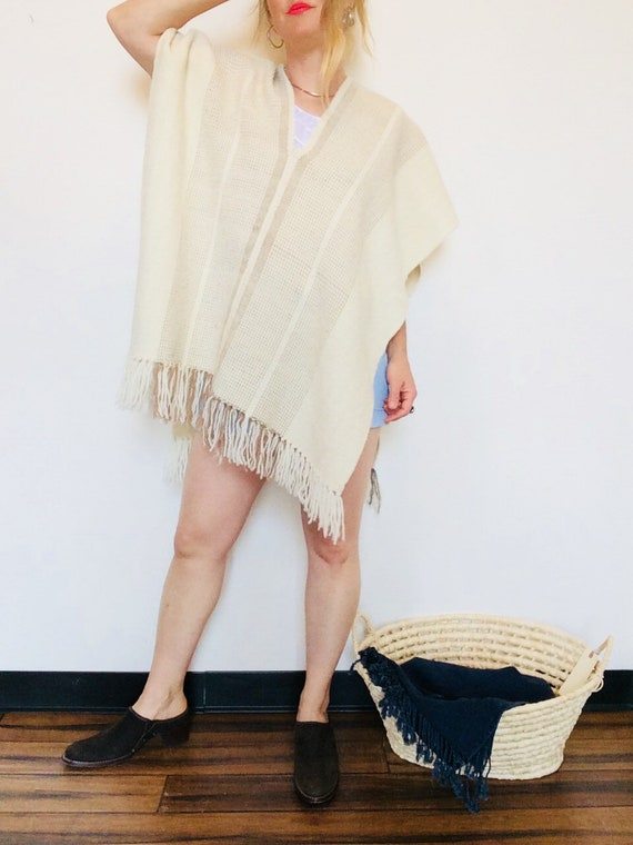 Vintage wool poncho vintage woven poncho white woo