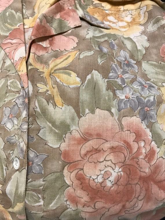 Vintage linen shirt vintage floral linen shirt bo… - image 7