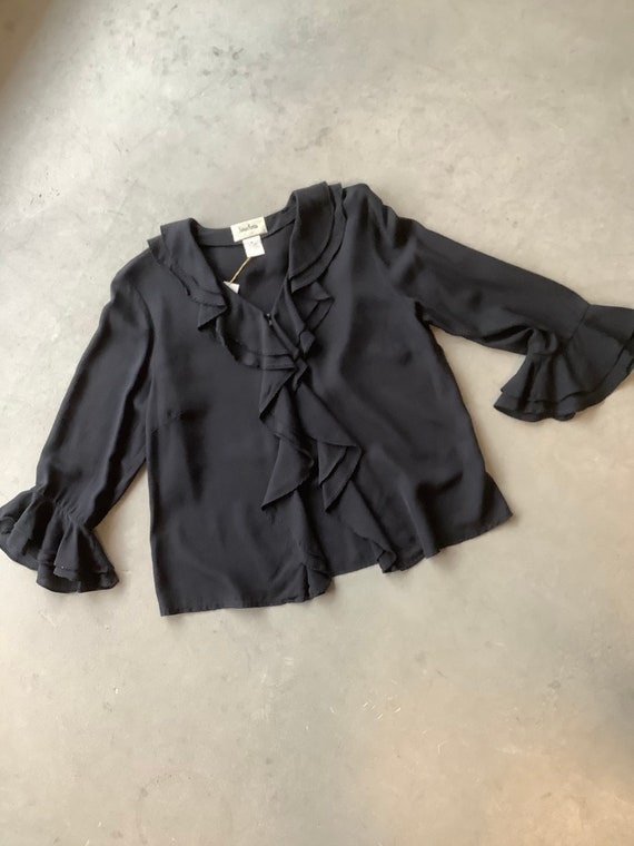 Black silk shirt silk ruffle shirt vintage silk sh