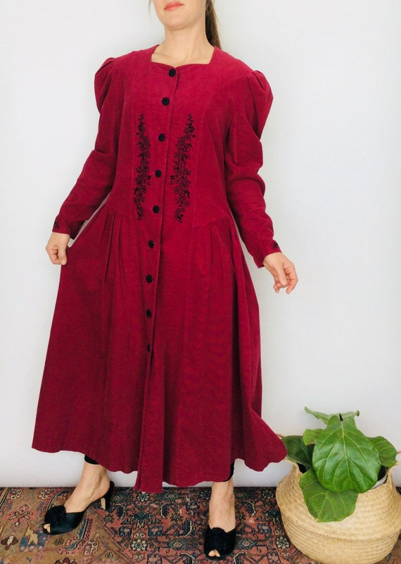 Vintage corduroy dress cordurpy duster dress vinta