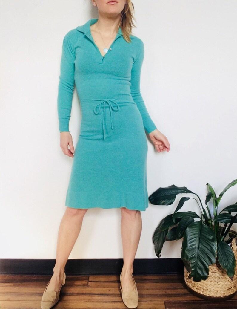 a8b3e4b44a1 Vintage sweater dress mint wool dress knit dress deep V dress