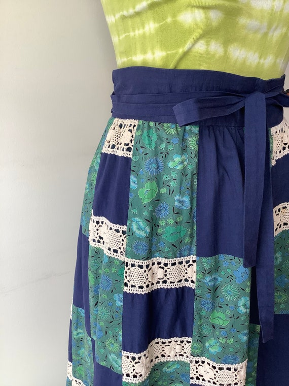 Patchwork maxi skirt 70s maxi skirt blue floral s… - image 3