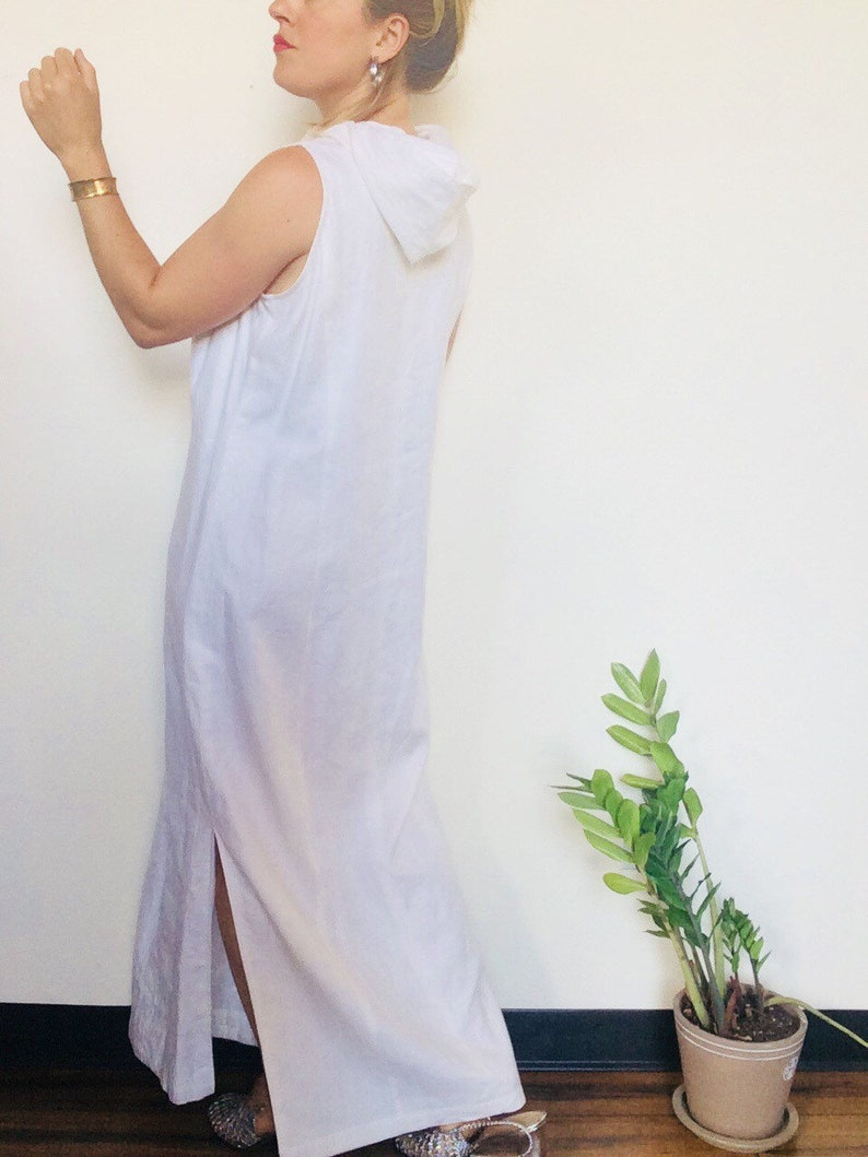 Robe en lin blanc, robe Maxi en lin, robe à capuchon, robe