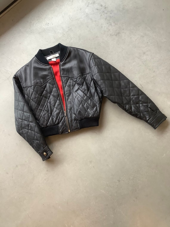 Vintage quilted leather jacket cropped leather jac
