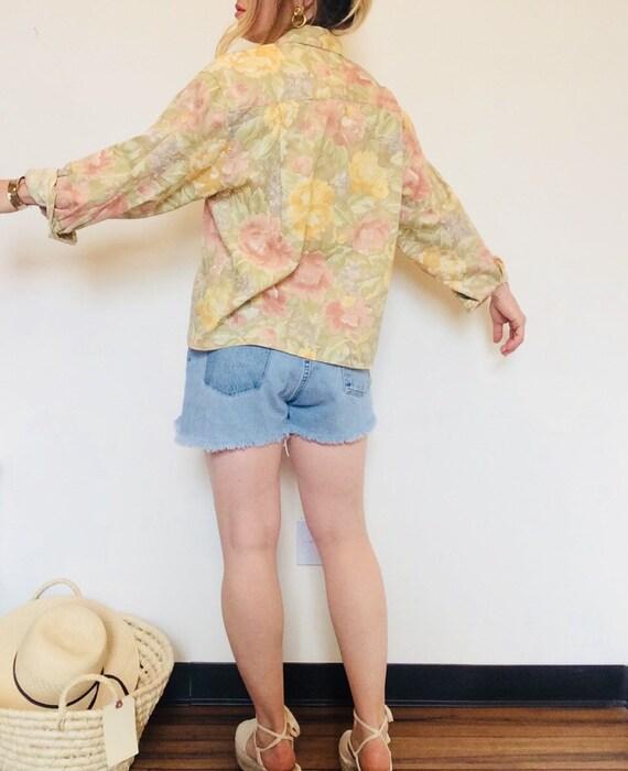 Vintage linen shirt vintage floral linen shirt bo… - image 5