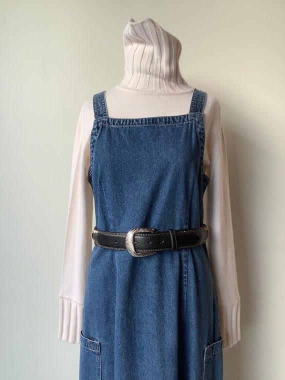 Vintage denim dress Long denim dress boxy dress vi