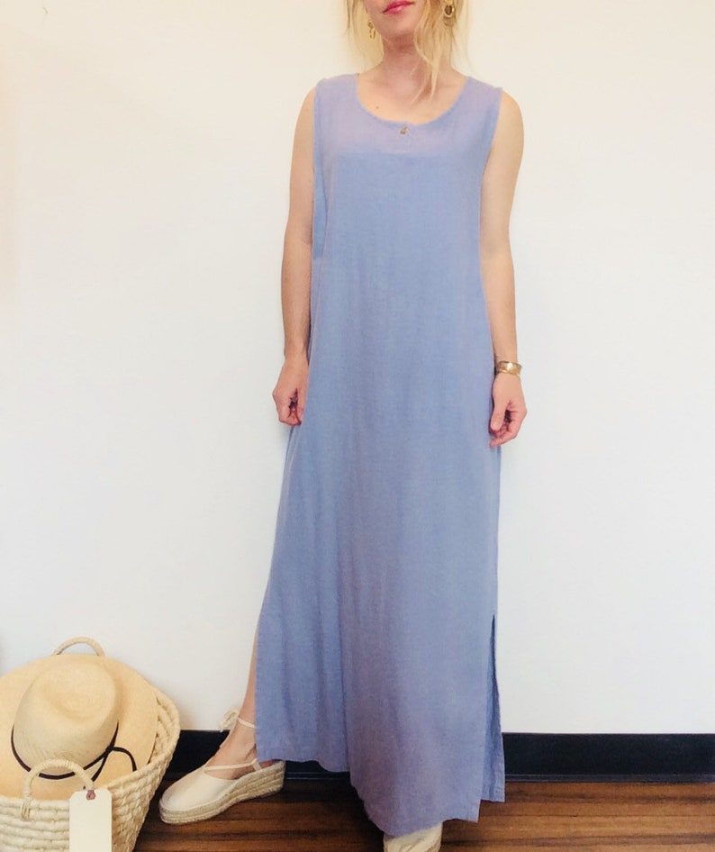 Kastigetsy Maxi Kleid Leinen Blaues Langes Pgjlsquzmv ywv80nmNOP
