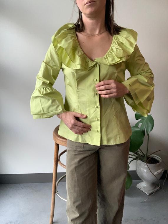Chartreuse silk shirt chartreuse silk ruffle shirt