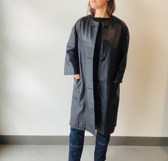Vintage leather trench coat black leather trench … - image 1